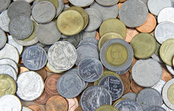 Metal money, various coins, lots of money, coins. Stock Photo