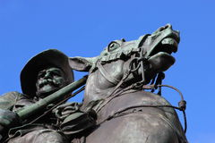 Metal monument of the general on horse. In center of Adelaide Stock Image