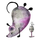 A metal mouse, a rat celebrates New Year, drinks drinks and dances. Hand drawn watercolor illustration with the symbol of the New