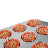 Metal muffin pan isolated Royalty Free Stock Photos