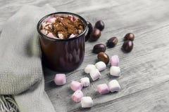Metal mug with hot chocolate, marshmallows Royalty Free Stock Image