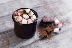 Metal mug with hot chocolate, marshmallows Royalty Free Stock Photo