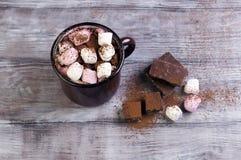 Metal mug with hot chocolate, marshmallows Stock Photos