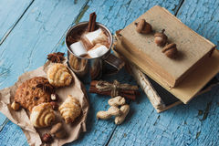Metal mugs with cacao and marshmallows Stock Photo
