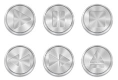 Metal multimedia buttons Royalty Free Stock Photos