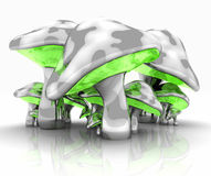 Metal mushrooms. Quality 3d illustration of funky metal mushrooms on reflective surface Royalty Free Stock Images