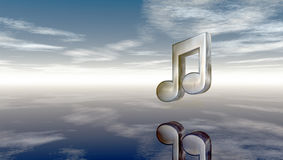 Metal music note under cloudy sky Royalty Free Stock Image