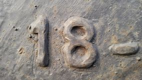 Metal número 18 Textura del metal oxidado bajo la forma de cuadros 18 fotos de archivo libres de regalías