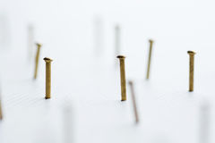 Metal nail head set on white background close up Royalty Free Stock Image