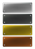 Metal Name Plates. Empty metal name plates sign isolated on white background Royalty Free Stock Photography