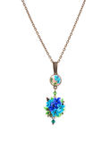 Metal necklace with artificial flowers. Stock Photo