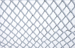 Metal net covered by hoarfrost Royalty Free Stock Photos