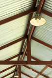 Metal net lamp hanging under  roof Royalty Free Stock Photography