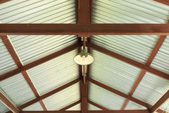 Metal net lamp hanging under zinc roof Stock Photography