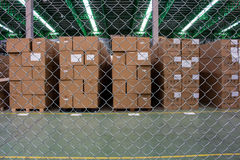 The metal nets protect area is on warehouse Stock Images