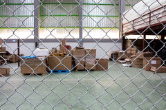 The metal nets protect area is on warehouse Royalty Free Stock Photography