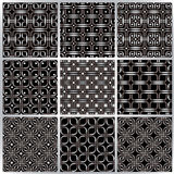 Metal netting seamless patterns set. Stock Photo