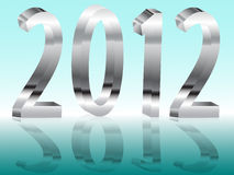 Metal new year. Icy Christmas wallpaper with metallic numerals 2012 Royalty Free Stock Images