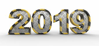 Metal New Year 2019. Image with clipping path. Image of Metal New Year 2019. Image with clipping path vector illustration