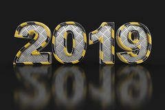 Metal New Year 2019. Image with clipping path. royalty free illustration