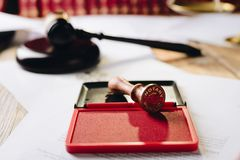 Metal notary public ink stamper Royalty Free Stock Image