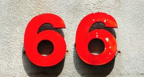 Metal number 66 Stock Image