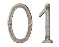 Metal numbers. Aged metal numbers with screw heads Stock Photos