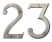 Metal numbers. Aged metal numbers with screw heads Stock Photo