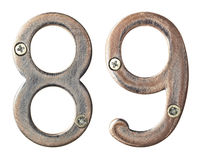 Metal numbers. Aged metal numbers with screw heads Royalty Free Stock Photography