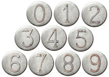Metal numbers. Aged metal numbers on a round metal plate Royalty Free Stock Photo
