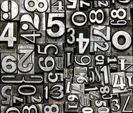 Metal numbers. Old vintage typeface metal numbers Stock Photo