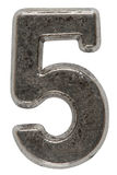 Metal numeral 5 five, isolated on white background, with clipping path.  stock photography