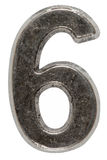 Metal numeral 6 six, isolated on white background, with clipping Royalty Free Stock Photography