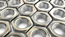 Metal nuts background Stock Image