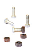 Metal nuts and bolts Royalty Free Stock Photography
