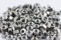 Metal nuts. A lot of different metal screws for maintenance activity Royalty Free Stock Photography