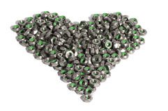 Metal nuts in the shape of heart isolated on white Stock Photos