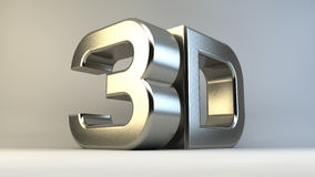 Metal o logotipo 3D isolado no fundo branco com Foto de Stock