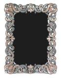 Metal o quadro com esmalte, as gemas e lugar marrons para Imagens de Stock Royalty Free