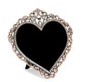 Metal o quadro da foto embutido com os cristais de rocha no formulário do coração imagem de stock