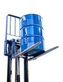 Metal o tambor da indústria química no caminhão de forquilha Fotos de Stock