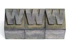Metal o tipo tipos da linótipo no printshop que soletra WWW imagens de stock royalty free