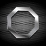 Metal octagon logo on perforated background Royalty Free Stock Image