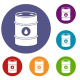 Metal oil barrel icons set. In flat circle reb, blue and green color for web royalty free illustration