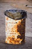 Metal oil barrel trashcan Royalty Free Stock Photography