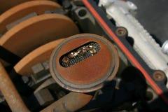 Metal in oil screen Stock Photo