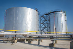 Metal oil tanks Stock Photo