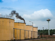 Metal oil tanks in Palm oil refinery plant . Royalty Free Stock Photos