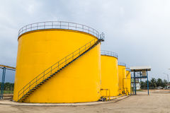 Metal oil tanks. In Palm oil refinery plant, Thailand Stock Image