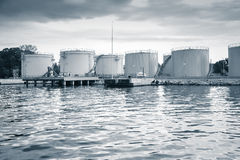 Metal oil tanks on the sea coast in Varna port Royalty Free Stock Photos